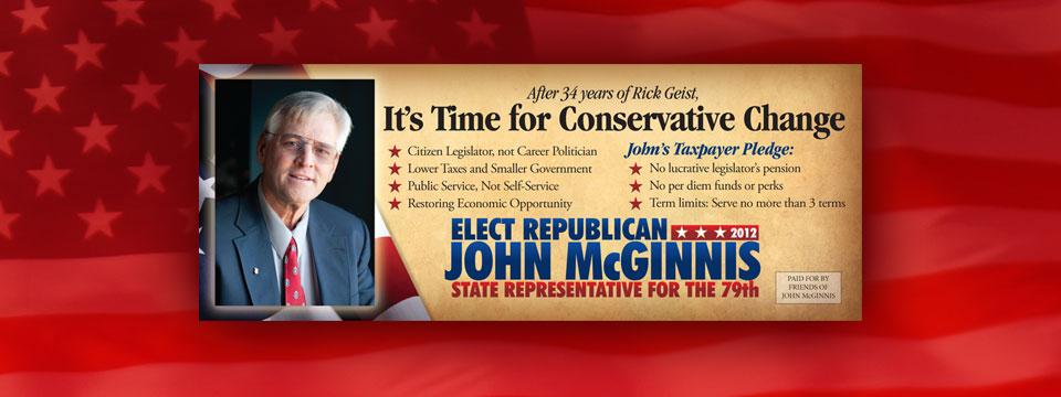 John McGinnis Conservative Change Palm Card