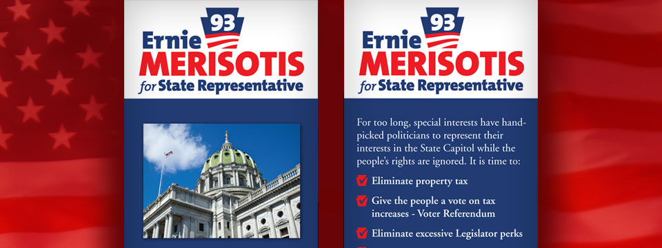 Ernie Merisotis 2014 Palm Card | Political Graphics USA