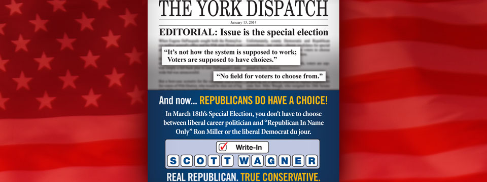 "Write-In Scott Wagner ""Issue is the special election"" Mailer"