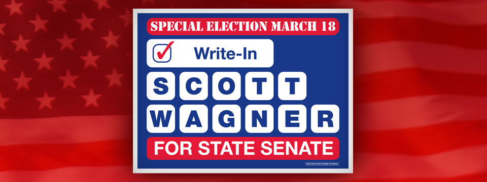 Write-In Scott Wagner Special Election Yard Sign